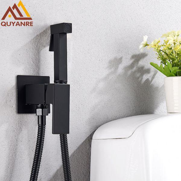 top popular Matte Black Bidet Shower Faucet Solid Brass Bidet Faucet Muslim Ducha Higienica Hot Cold Water Mixer Tap Toilet Faucets 2021