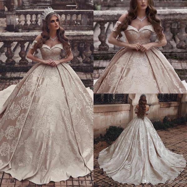 Dubai Arabic Style Luxury Champagne Ball Gown Wedding Dresses 3d
