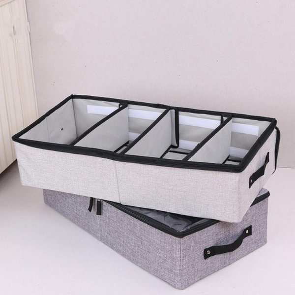 Cysincos Cotton Linen Folding Washable Storage Box Dustproof Pvc Cover Shoe Organizer Boxes For Boots Underwear Socks Organizers J190713