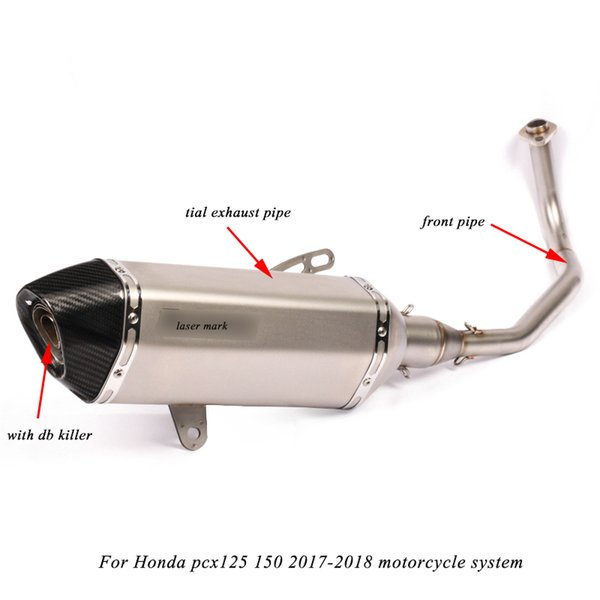 Silp on for Honda PCX 125/150 2017 2018 Motorcycle Modification non-destructive Link Exhaust Muffler Pipe With DB Killer