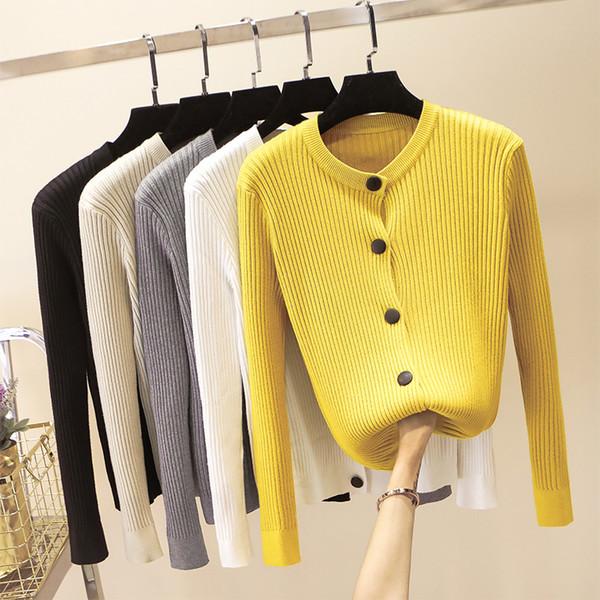 Кардиган женский свитер осень зима ребристые вязаные хлопковые топы черный белый кардиганы женский свитер мягкий пиджак