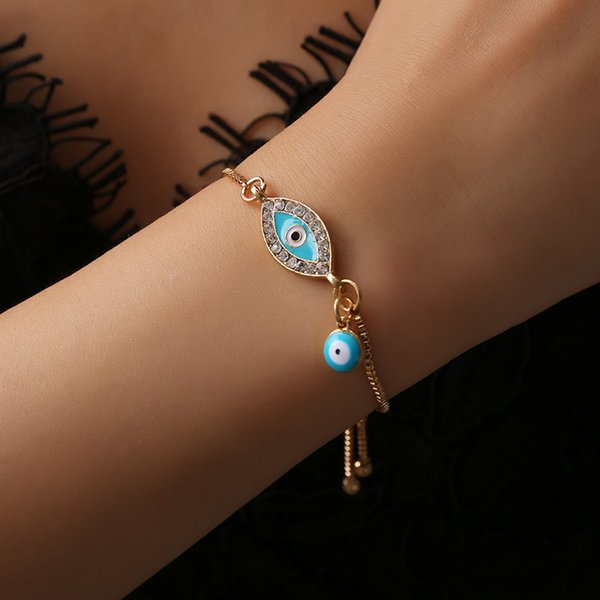 2018 New Fashion Gold/sliver Heart Blue Evil Eye Bracelet Charm Trendy Adjustable For Woman Jewelry Gift