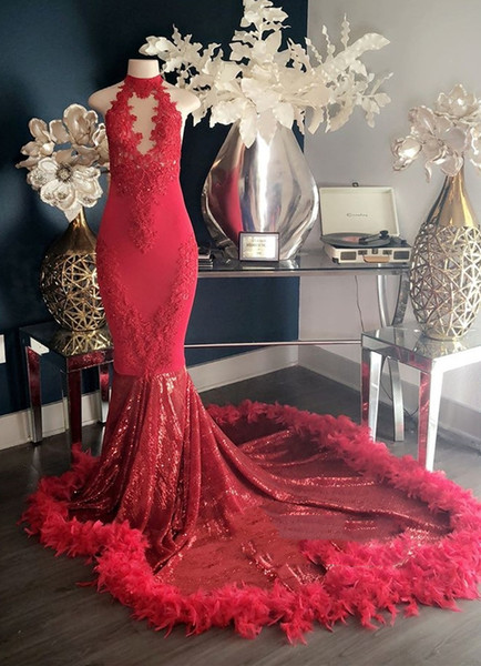 Red New Design Feather Mermaid Prom Dresses 2019 Appliques High Neck Sexy Formal Evening Dresses Luxury Fashion Cocktail Party Gowns 2K19
