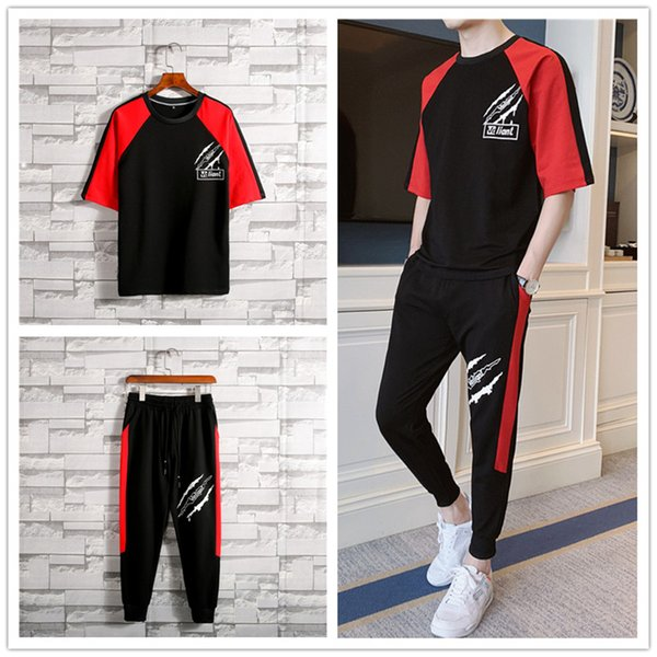 Summer short sleeve suit men's fashion net red guy Korean casual youth student loose thin T-shirt sports two-piece set