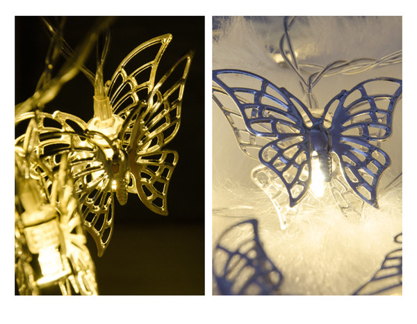 Dormitory decoration light string girl life room layout LED wrought iron silver white butterfly string light romantic lantern