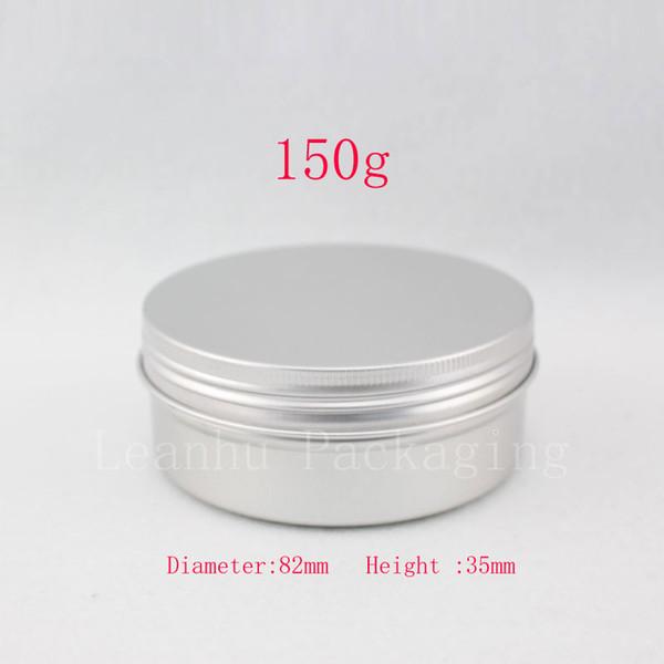 Contenitore in barattolo di alluminio da 150 g con coperchio a vite, bottiglia di metallo cosmetico per crema / unguento / contenitore, 20pz / lotto