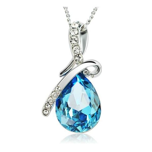 Halsketten 925 Sterling Silber überzogener blauer Kristalledelstein-Amethyst-Herz-Anhänger