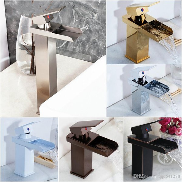 Nickel Brushed Bathroom Basin Faucet Tap Mixer Black White Painting Waterfall Chrome Brass Water Wash Basin Mixer Tap Faucet