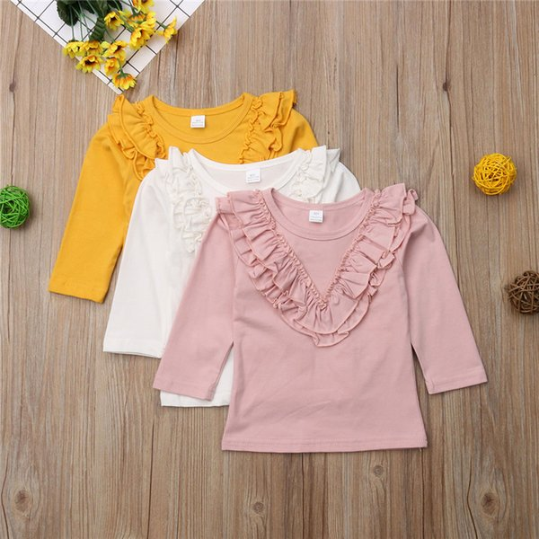 2019 T-shirt À Manches Longues En Coton Bébé Fille 0-5 Ans Enfants Vêtements Casual Tops Tee