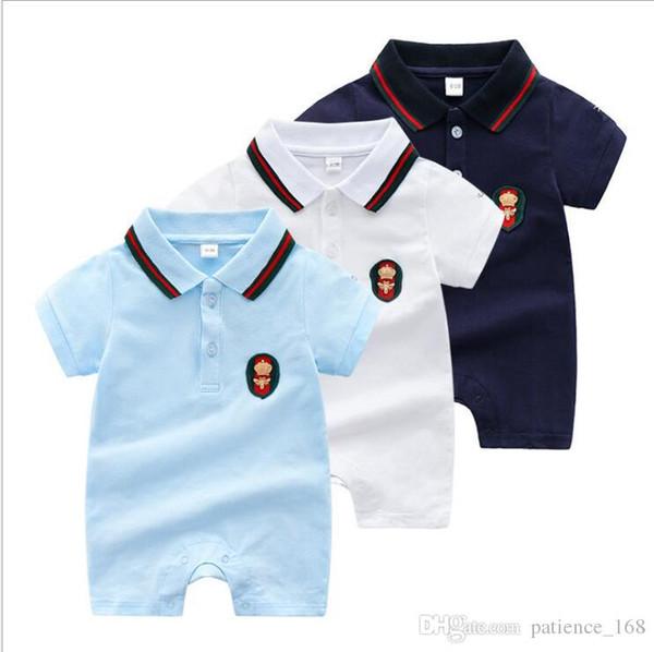 Romper 2018 verão novos estilos de bebê crianças bonito lapela de alta qualidade de algodão de manga curta esporte estilo dos desenhos animados decalques rendas romper 3 cores