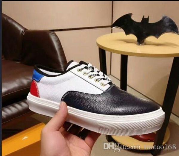 Top Männer Schwarz Blau flache Schuhe Designer-Turnschuhe Spitze-up Trainer-Leder-Ebene Turnschuhe Klassische zufällige Turnschuhe Schuhe