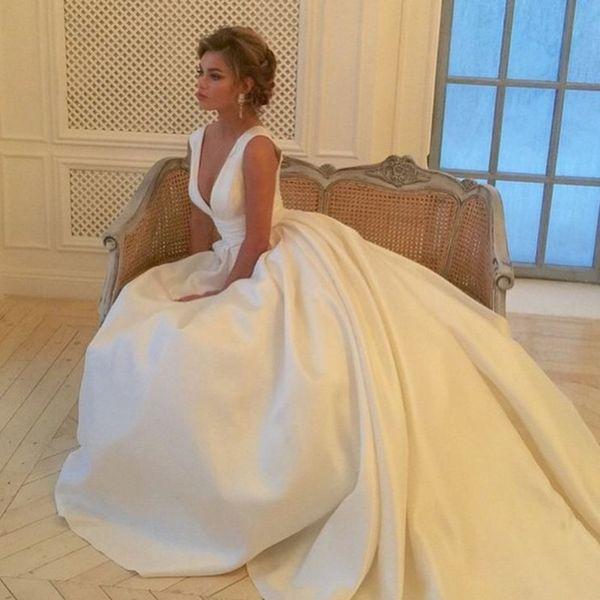 Hübsches Brautkleid Elfenbein Vestido de noiva Brautkleider Lange modische Brautkleider Lange Robe de Marie Trouwjurk