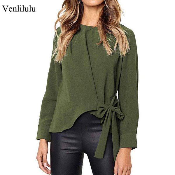 Venlilulu Spring Loose Female Blouses Blouse Women Bow Shirts Autumn Long Sleeve Femme Casual Shirt Office Lady Blouse Women50