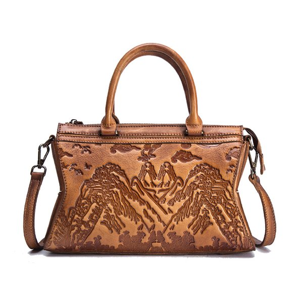 2019 Fashion High Quality Genuine Leather Women Messenger Shoulder Bag Chinese Style Cross Body Tote Handbag Cowhide Embossed Top Handle Bag