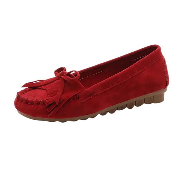 womens flats 2019 Bottom Elegant Wild Casual Single Shoes Bow Fringe Peas Shoes ballerinas for women schoenen dames#B40