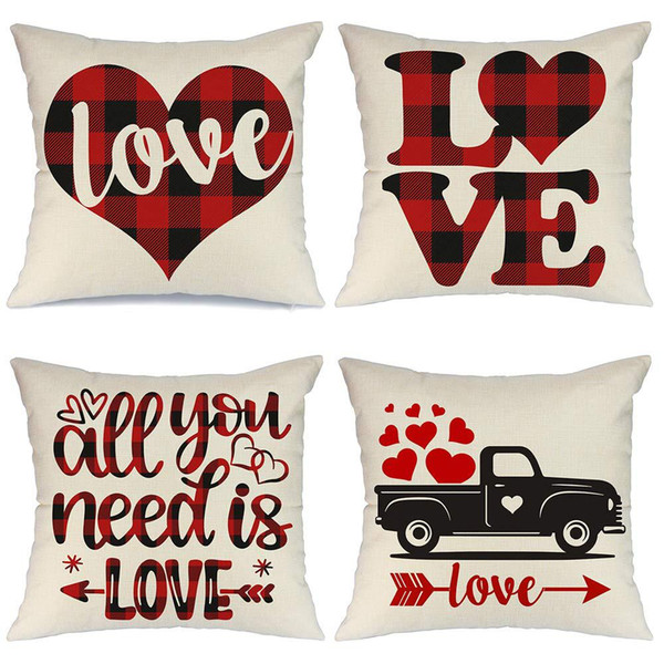 best selling 45*45cm Valentine's Day Love Cushion Covers Linen Wedding Home Sofa Throw Pillow Case Christmas Decoration Pillow Cover Party Supplies