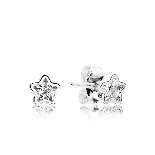 NEW Clear Crystal Shining stars Stud Earring with Original Box set for Pandora 925 Sterling Silver Earring for Girls