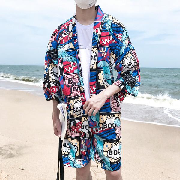 Acquista Giacca Da Uomo Kimono Giapponese Con Stampa Completa Di Manga Aperta, Uomo 2018, Giacca Da Uomo A Prova Di Sole Sottile Stile Estivo A $28.08