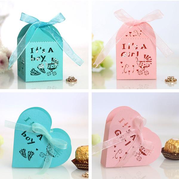 Son un garçon 50pcs fille coeur creux bonbons Dragée Coffret cadeau Emballage de mariage en carton biscuits au chocolat sacs-cadeaux Emballage papier