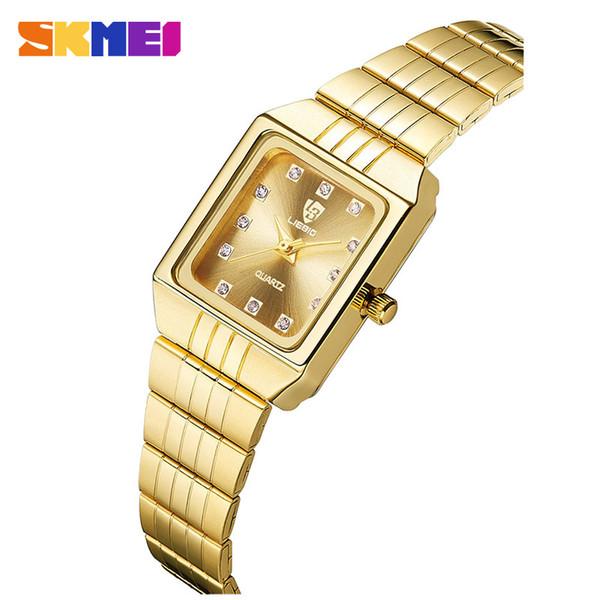 SKMEI Gold Stainless Steel Watches Women Luxury Casual Clock Ladies Wrist Couple Watch reloj mujer Relogio Feminino For Female