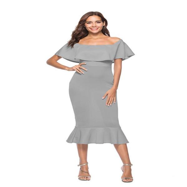 Buena calidad Vestido de fiesta de la noche de las mujeres de las mujeres Sexy Summer White Slash Neck Dress Mid Calf Ruffles Strapless Bodycon vestidos de moda