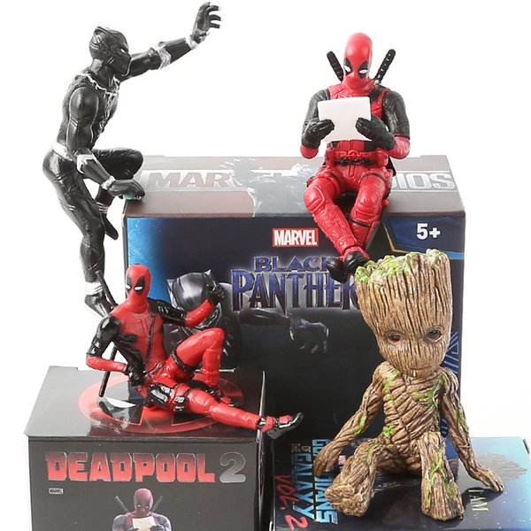 best selling 6 Styles Marvel Deadpool Black Panther Groot Action Figure PVC Collection Model Anime Mini Doll Decoration Toys for Christmas Birthday Gift