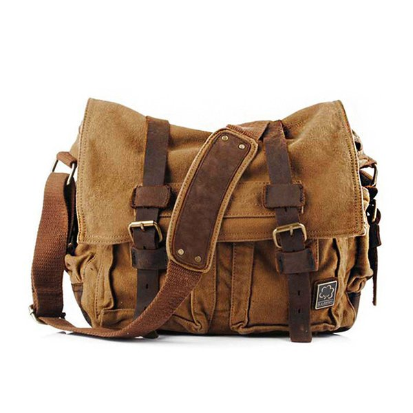 good quality Fashion Canvas Bag Men Vintage Messenger Bag Large Military Army Leather Crossbody Travel Bags For Men Laptop Bag 14 Inch