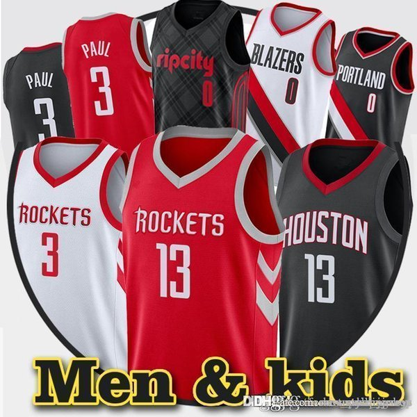 check out ae90b 90f87 2019 James 13 Harden Men Rockets Jersey Youth Chris 3 Paul Damian 0 Lillard  Jersey 3 McCollum Embroidery Logos Basketball Jersey From ...