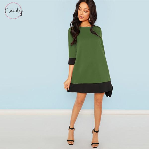 Indo moderno mulheres vestidos Fora Contraste Apare Três Quartos luva Mudança Colorblock Vestido Lady verde Outono