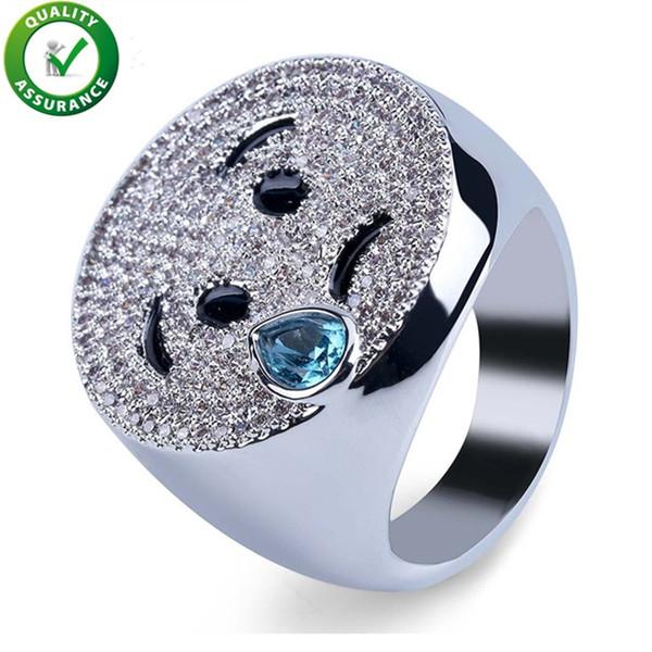 Hip Hop Mens Diamant Ring Luxus Designer Schmuck CZ Emoji Simle Ringe NightClub Geometrie Weinen Finger Ringe Jungen Bling Rock Hochzeitsgeschenk