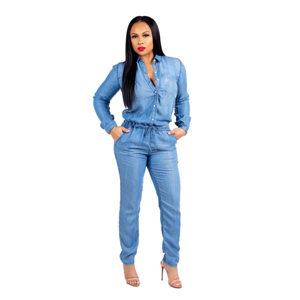 Fashion Spring Women Jeans Jumpsuits Lace Up Plus Size Bodysuits Long Sleeve Denim Rompers