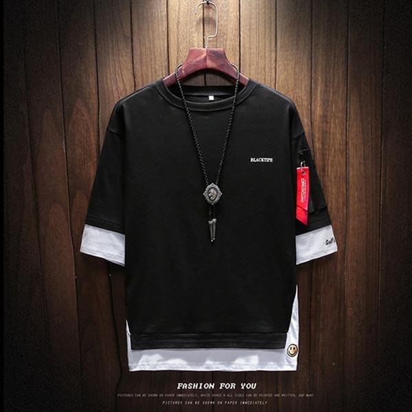 2018 summer korean version men'sbranddesignt-shirt round neck large size left sleeve zipper t-shirt men's clothing