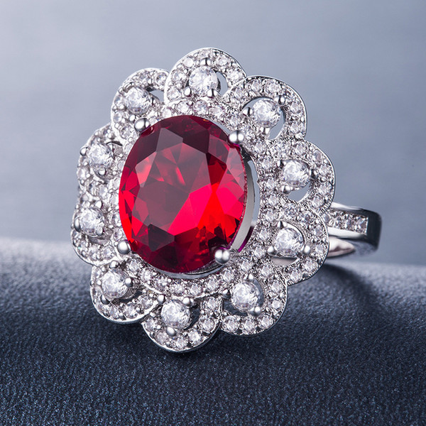 Бриллиантовое кольцо Женские кольца помело розовое золото кольцо Белый Циркон рубин сапфир камень Кристалл муассанит гранат B1145
