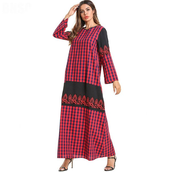 Red Plaid Dresses Women Long Sleeve O Neck Lace Patchwork Casual Loose Tartan Casual Fashion Muslim Ankle Length Maxi dress Plus size 4XL