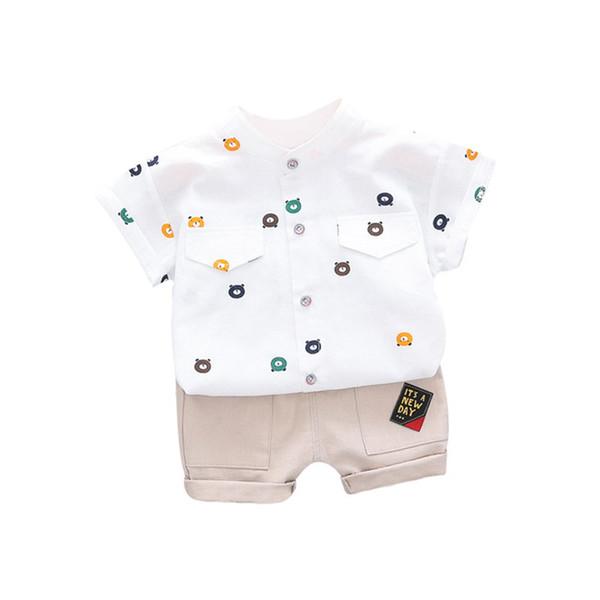 Children Baby Summer Colothing Sets Baby Boys Short Sleeve Cartoon Bear Print Tops Blouse Shirts+Shorts Casual Outfits Sets