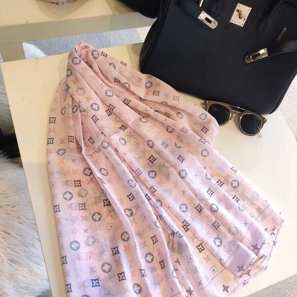 Best gifts fashion designer style for woman classic print designer silk scarfs 180*90 2colors luxury wraps brand scarves