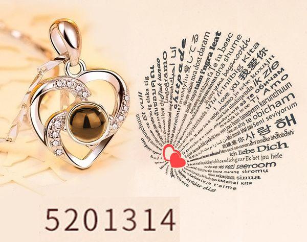 Rose Gold und Silber 100 Sprachen Ich liebe dich Projektions-Anhänger-Halskette Romantische Liebesgedächtnis-Hochzeits-Halskette