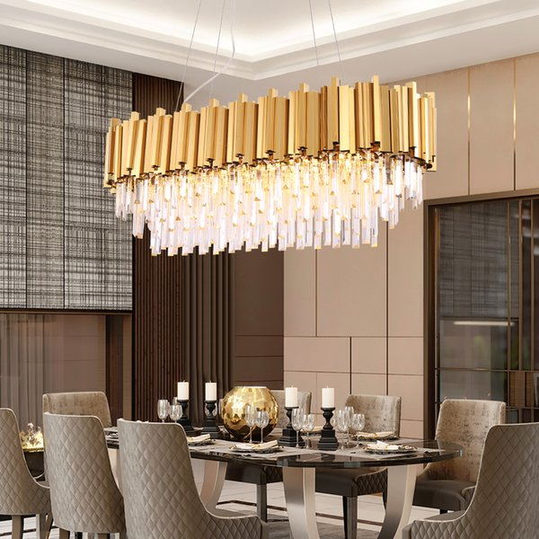 Luxury Rectangle Lustre Crystal Chandelier For Dining Room Modern  Chandeliers Lighting Gold Polished Steel Hanglamp Kitchen Island Lamp  Chandelier ...