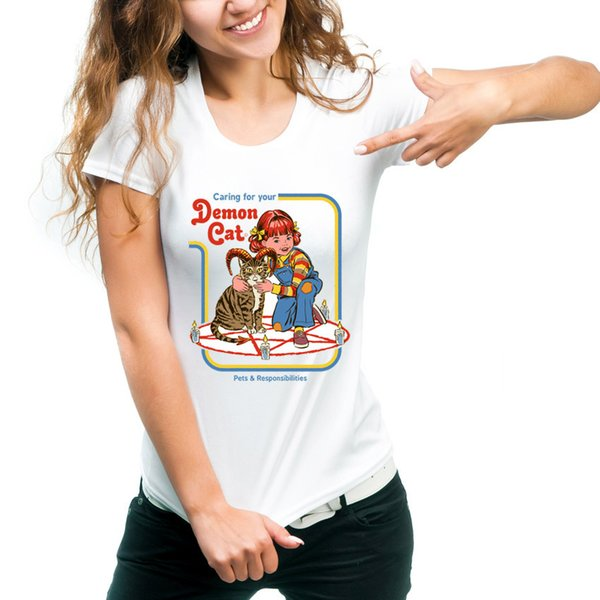 Camiseta de cuidado Gato demonio tops de manga corta Sobrenatural unisex solidez camisetas Colorfast imprimir ropa Pure color modal camiseta