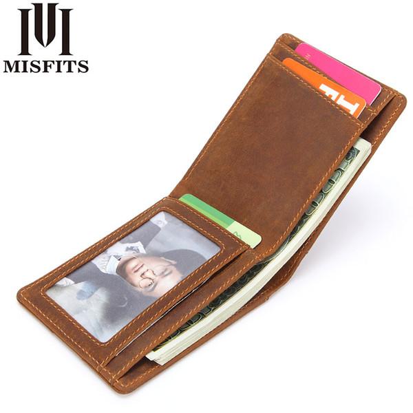 MISFITS Echtes Leder Geldscheinklammern Vintage Männer Brieftasche Hohe Qualität Kuh Leder Männliche Dünne Brieftasche Lässige Mini Geldbörsen Kart ...