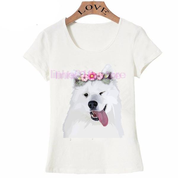 2019 nova moda verão dos homens de manga curta Bonito Samoieda T-Shirt Do Cão engraçado design homens Tops novidade menino Tees