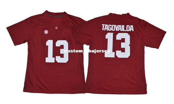 Cheap custom Tua Tagovailoa Jersey #13 Alabama Crimson Tide Football Jersey- Red Stitched Customize any number name MEN WOMEN YOUTH XS-5XL