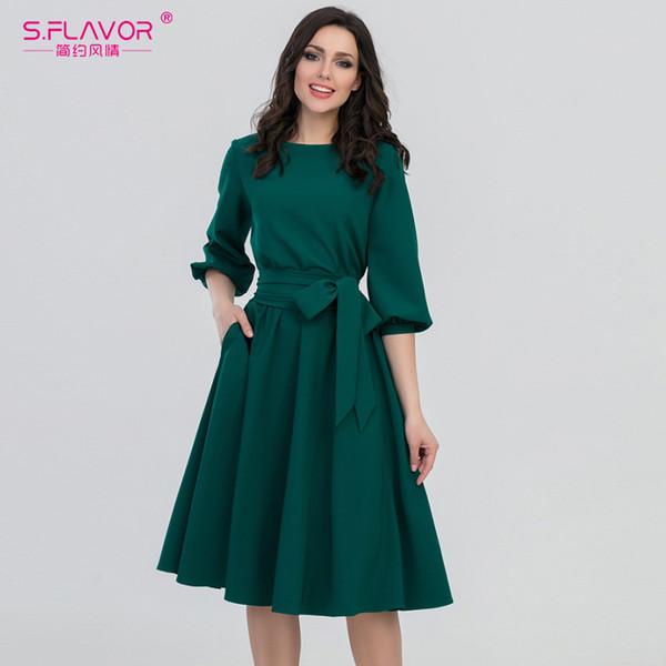 S.flavor Donna Moda Vintage Verde O-Collo Elegante A Line Puff Sleeve Vestidos Vestito Da Estate Del Partito Nessuna Tasca Q190510