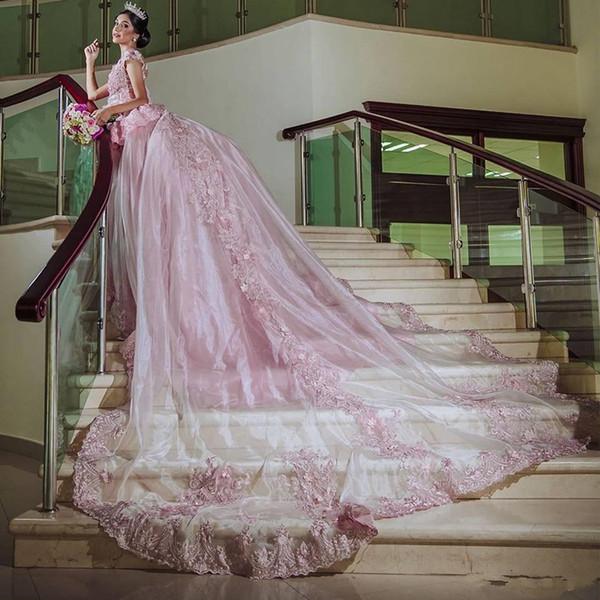 Elegante rosa cinderela quinceanera vestidos com apliques princesa doce 15 vestido de aniversário younique longo trem vestido de baile Vestidos 15 anos