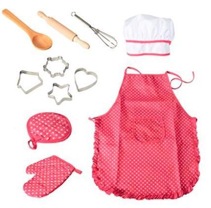 11pc enfants Cuisine et pâtisserie Set de cuisine de luxe Chef Set Costume de rôle Jeux d'imitation Kit tablier costume chapeau pour enfants de 3 ans