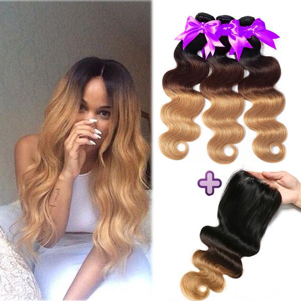 Paquetes brasileños de cabello humano con cierre Onda corporal brasileña Armadura del cabello humano T1B / 4/27 Ombre Body Wave Black Brown Paquetes rubios