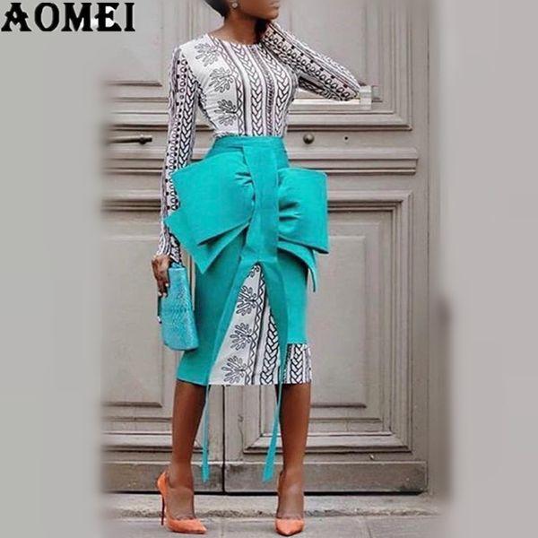 2 Parça Setleri ile Bahar Kadınlar Kalem Etekler Baskılı Elbiseler Zarif Zarif Papyon Ince Bölünmüş Jüpes Lady Moda 2019