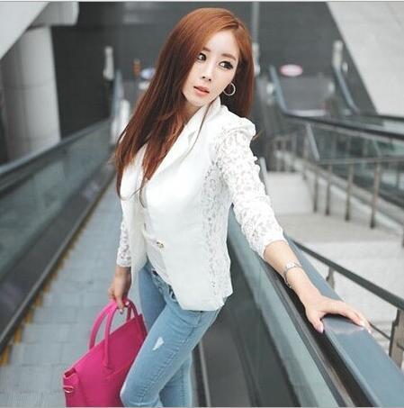 Casual 2019 Ladies Party Black Version coréenne de dentelle mince couture petit costume blazer S-XL