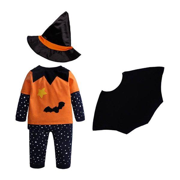 Nouveau 2019 Halloween bébé convient à bébé vêtements nouveau-né tenues tenues infantile ensembles à manches longues t-shirt + pantalon + chapeaux 4 pcs bébé garçon vêtements A7890