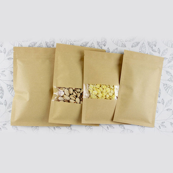 100pcs flat brown kraft paper bags for gifts/candy/tea/food/wedding with window no stand up zipper kraft bags crafts Packing bag